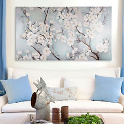 Ivory Cherry Blossoms Canvas Art Print