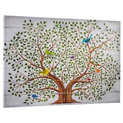 Rainbow Birds Family Tree Canvas Art Print