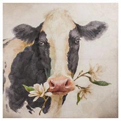 Magnolia Cow Canvas Art Print