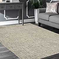 Silver and Ivory Geometric Area Rug, 5x8