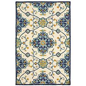 Ivory and Blue Lavish Floral Area Rug, 5x8
