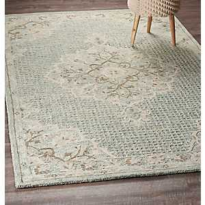 Aqua Blue Modern Traditions Area Rug, 5x8