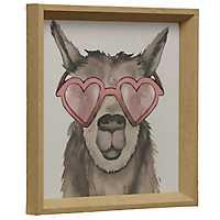 Llama with Heart Sunglasses Framed Art Print