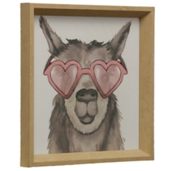 Llama with Heart Sunglasses Framed Art Print