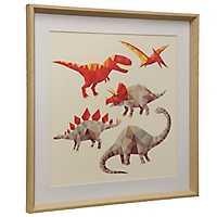 Red Geometric Dinosaurs Framed Art Print