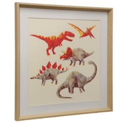 Red Geometric Dinosaurs Framed Art Print