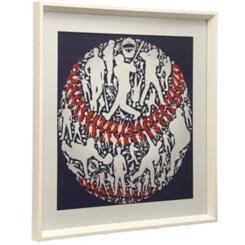 Red, White, and Blue Baseball Framed Art Print