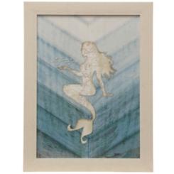 Blue Textured Mermaid Framed Art Print
