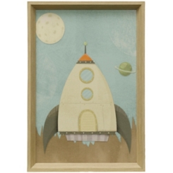 Blue Spaceship Framed Art Print