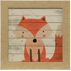 Woodland Creatures Fox Textured Framed Art Print