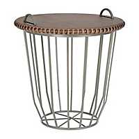 Gray Wire Basket Table with Beaded Wood Top
