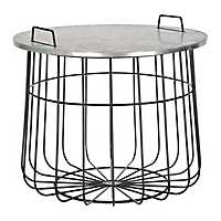 Large Wire Basket Table with Galvanized Top