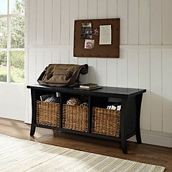 Walden Black Storage Bench with 3-Wicker Baskets