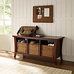 Walden Mahogany Storage Bench with Wicker Baskets