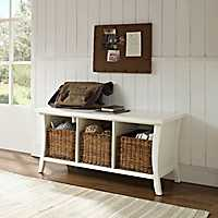 Walden White Storage Bench with 3-Wicker Baskets