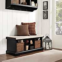 Wicker Baskets Black Storage Bench with Cushion