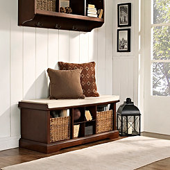 Wicker Baskets Mahogany Storage Bench with Cushion