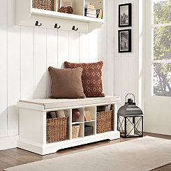 Wicker Baskets White Storage Bench with Cushion