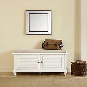 White Palmer Shutter Storage Bench with Cushion