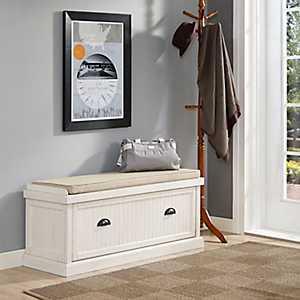 White Seanan Storage Bench with Cushion