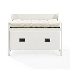 Monte White Storage Bench with Tufted Cushion