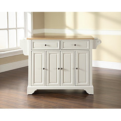 Langston Natural Wood Top White Kitchen Island