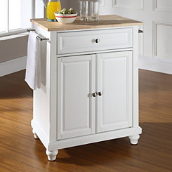 Camden Natural Wood Top White Kitchen Island