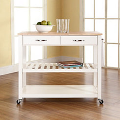 Natural Wood Top White Kitchen Cart with Casters
