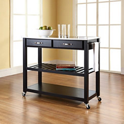 Utility Stainless Steel Top Black Kitchen Cart