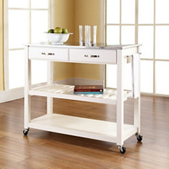 Utility Stainless Steel Top White Kitchen Cart