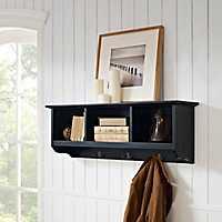 Black Brenna Storage Shelf with Hooks