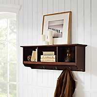 Mahogany Brenna Storage Shelf with Hooks