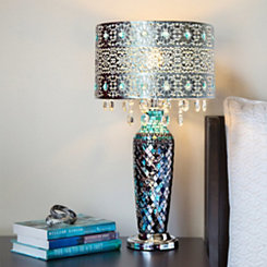 Mosaic Blue with Crystal Beaded Shade Table Lamp