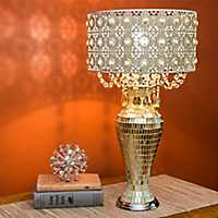 Jeweled Metal and Mosaic Table Lamp with Crystals