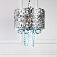 Jeweled Metal with Cascading Crystals Chandelier