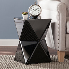 Remy Mirrored Black Accent Table