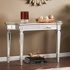 Scarlett Matte Silver Mirrored Console Table