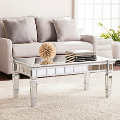 Scarlett Mirrored Matte Silver Coffee Table