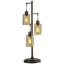 Bronze Seeded Glass Pendant Table Lamp