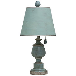 Blue Table Lamp with Chain Pull