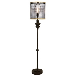 Industrial Edison Bulb Metal Mesh Shade Floor Lamp