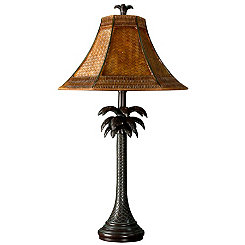 Palm Tree Table Lamp with Rattan Shade