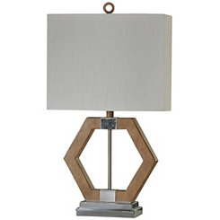 Geometric Wood and Metal Table Lamp