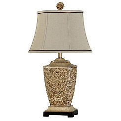 Traditional Carved Cream Finish Table Lamp