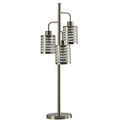 3-Headed Brushed Steel Table Lamp with LED Bulbs