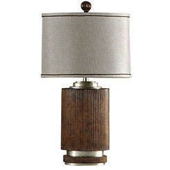 Ribbed Wood with Silver Accent Table Lamp