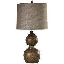 Wood Molded with Brass Accents Table Lamp