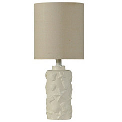 Hand Carved White Seashell Table Lamp