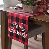 Merry Christmas Buffalo Check Table Runner