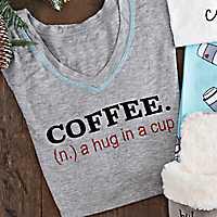 Gray Coffee a Hug in a Cup Popstitch T-Shirt, XL
